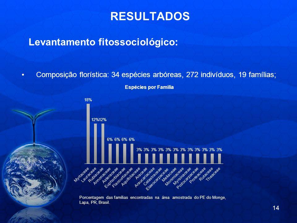 RESULTADOS Composição florística: 34 espécies arbóreas, 272 indivíduos, 19 famílias; Porcentagem das famílias encontradas na área amostrada do PE do Monge, Lapa, PR, Brasil.