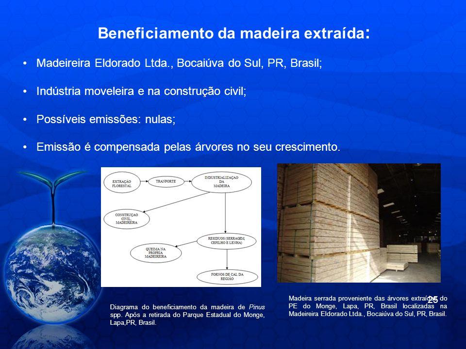 Beneficiamento da madeira extraída : Diagrama do beneficiamento da madeira de Pinus spp. Após a retirada do Parque Estadual do Monge, Lapa,PR, Brasil.