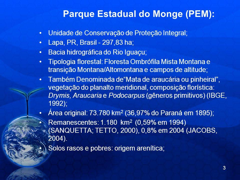 Parque Estadual do Monge (PEM): Unidade de Conservação de Proteção Integral; Lapa, PR, Brasil - 297,83 ha; Bacia hidrográfica do Rio Iguaçu; Tipologia