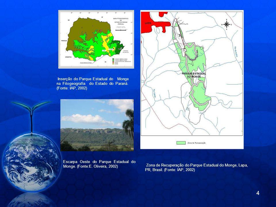 Escarpa Oeste do Parque Estadual do Monge. (Fonte:E. Oliveira, 2002) Inserção do Parque Estadual do Monge na Fitogeografia do Estado do Paraná. (Fonte