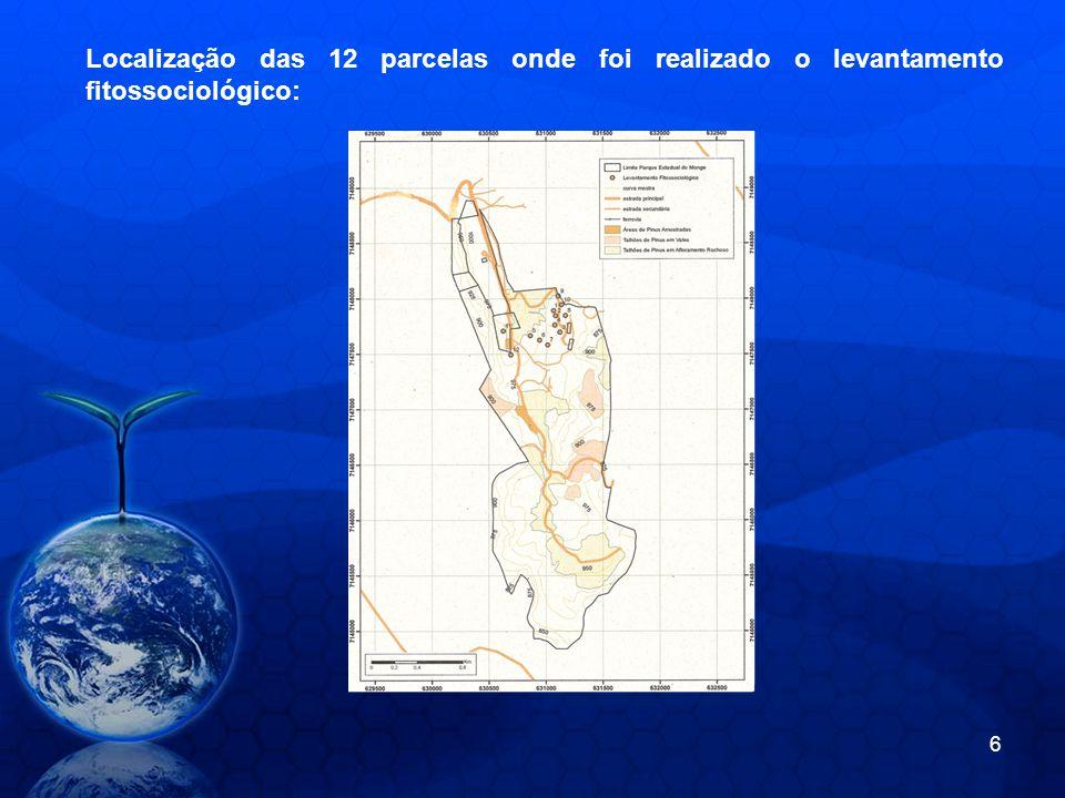 Localização das 12 parcelas onde foi realizado o levantamento fitossociológico: 6