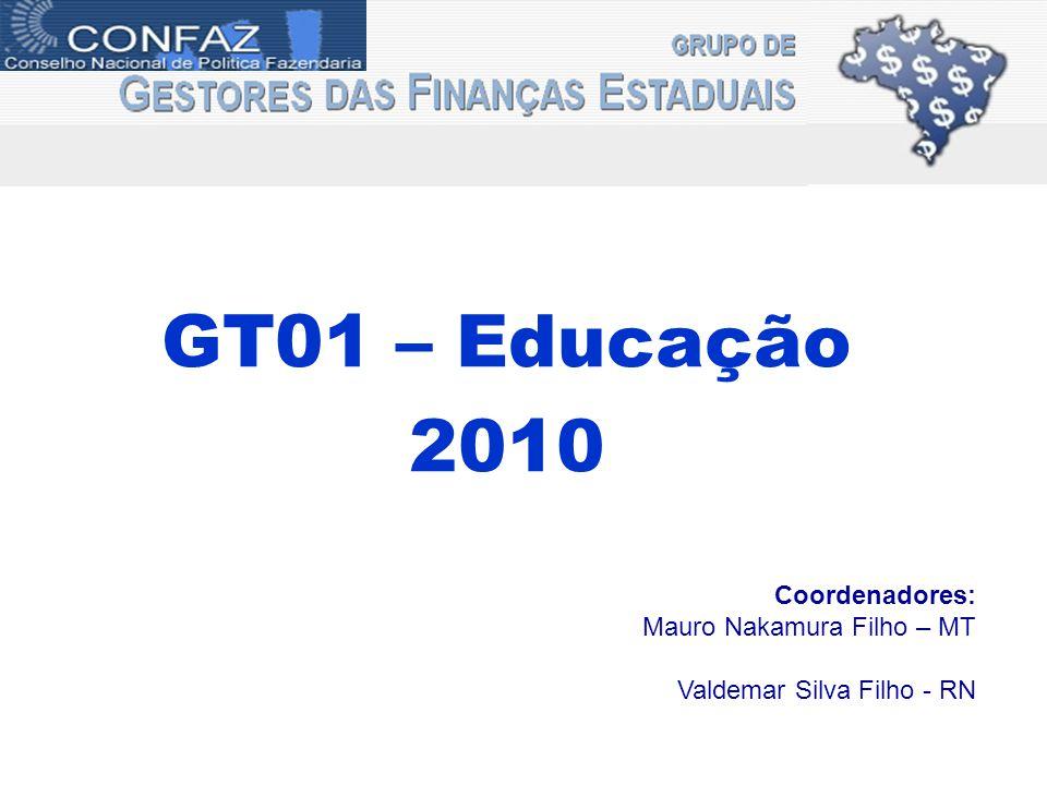GT01 – Educação 2010 Coordenadores: Mauro Nakamura Filho – MT Valdemar Silva Filho - RN