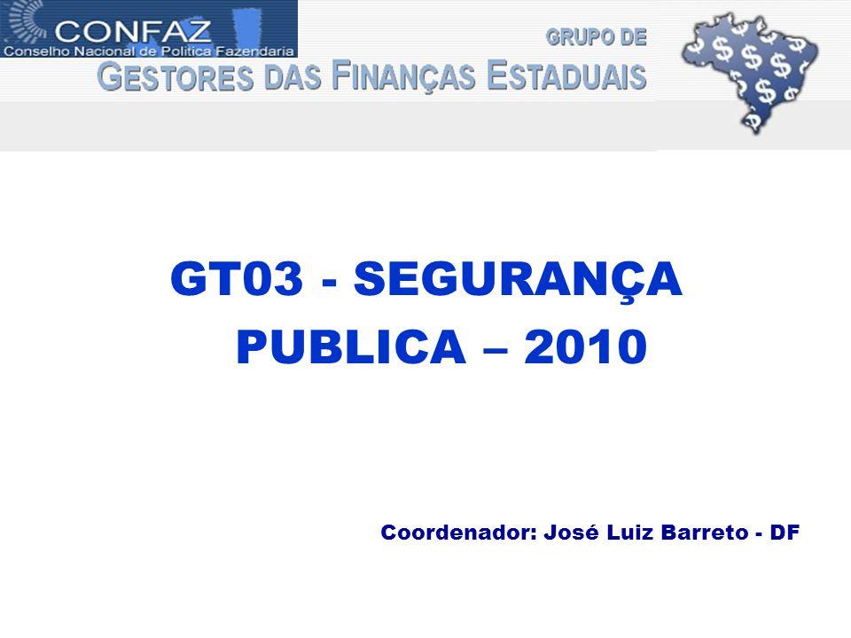 GT03 - SEGURANÇA PUBLICA – 2010 Coordenador: José Luiz Barreto - DF