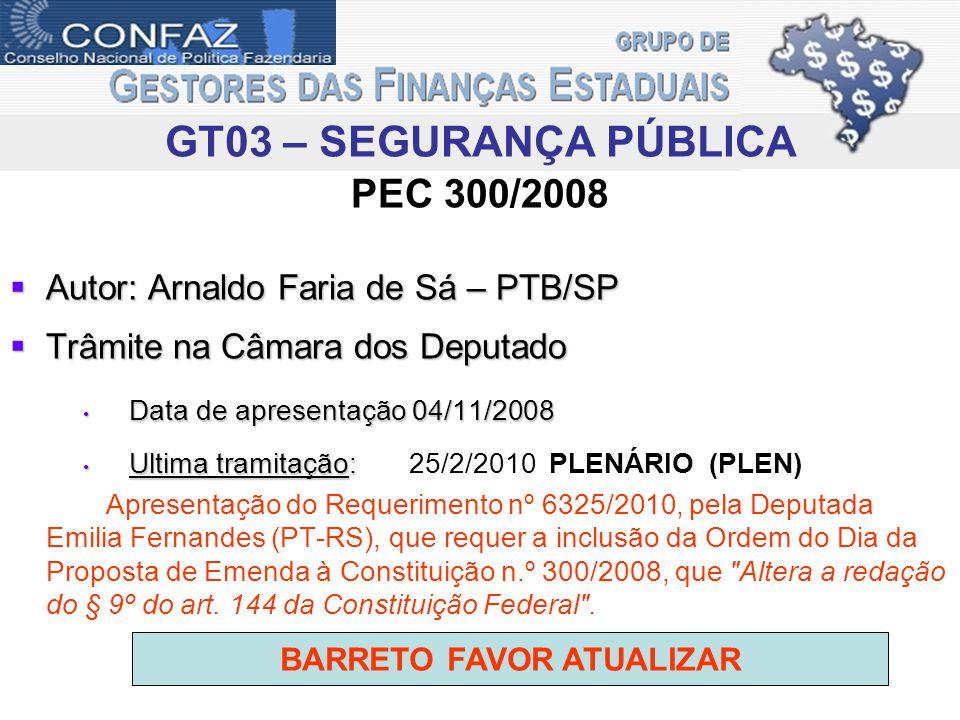 PEC 300/2008 Autor: Arnaldo Faria de Sá – PTB/SP Autor: Arnaldo Faria de Sá – PTB/SP Trâmite na Câmara dos Deputado Trâmite na Câmara dos Deputado Dat