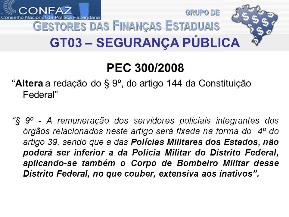 PEC 300/2008 Altera a redação do § 9º, do artigo 144 da Constituição Federal § 9º - A remuneração dos servidores policiais integrantes dos órgãos rela