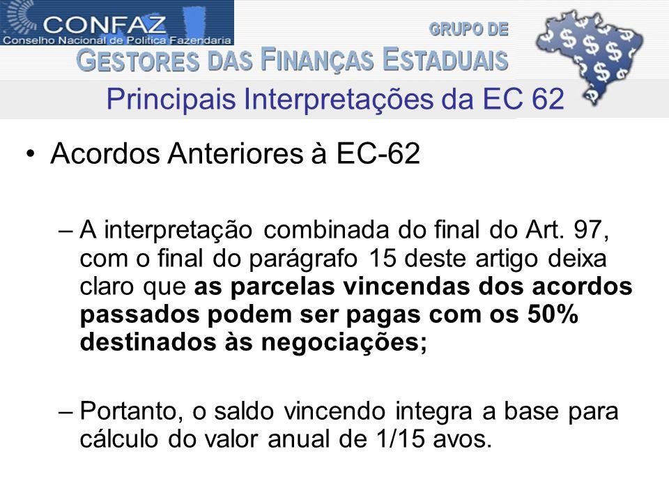 Acordos Anteriores à EC-62 –A interpretação combinada do final do Art. 97, com o final do parágrafo 15 deste artigo deixa claro que as parcelas vincen
