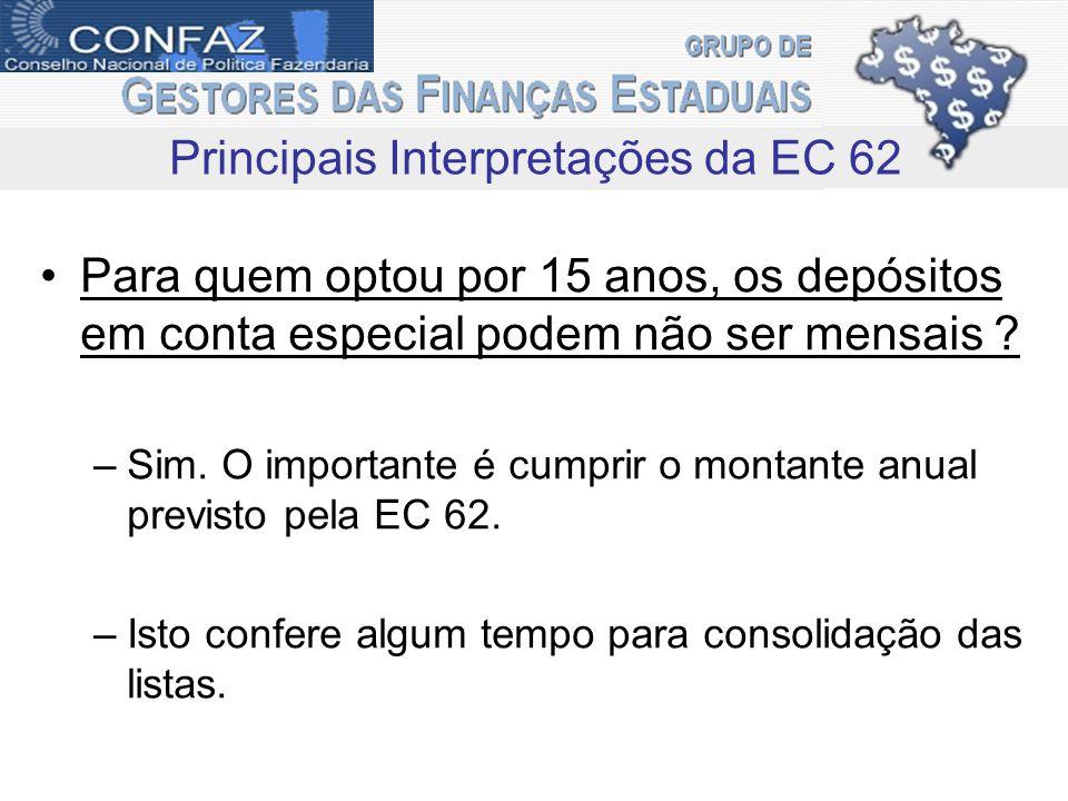 Para quem optou por 15 anos, os depósitos em conta especial podem não ser mensais ? –Sim. O importante é cumprir o montante anual previsto pela EC 62.