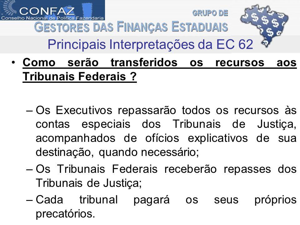 Como serão transferidos os recursos aos Tribunais Federais ? –Os Executivos repassarão todos os recursos às contas especiais dos Tribunais de Justiça,