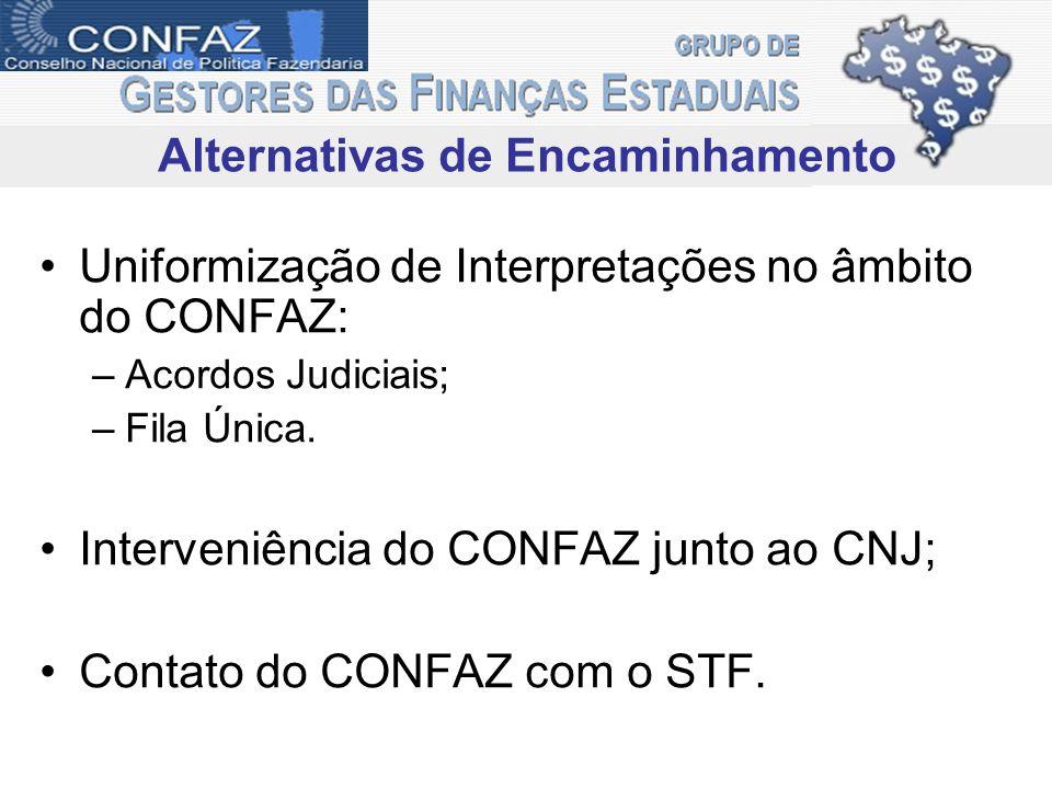 Uniformização de Interpretações no âmbito do CONFAZ: –Acordos Judiciais; –Fila Única. Interveniência do CONFAZ junto ao CNJ; Contato do CONFAZ com o S
