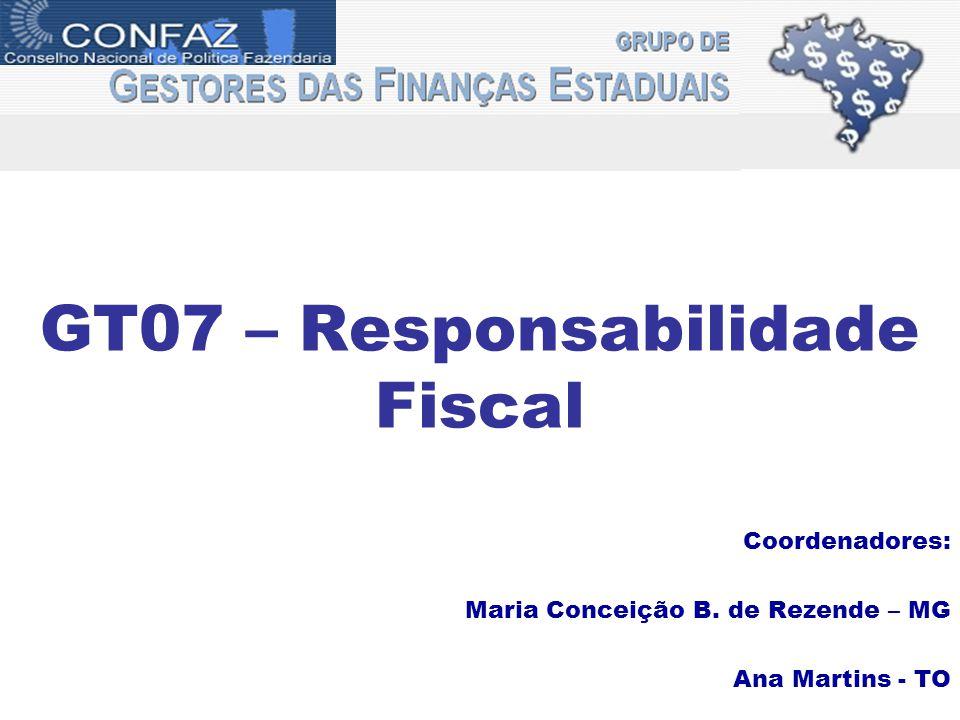 GT07 – Responsabilidade Fiscal Coordenadores: Maria Conceição B. de Rezende – MG Ana Martins - TO
