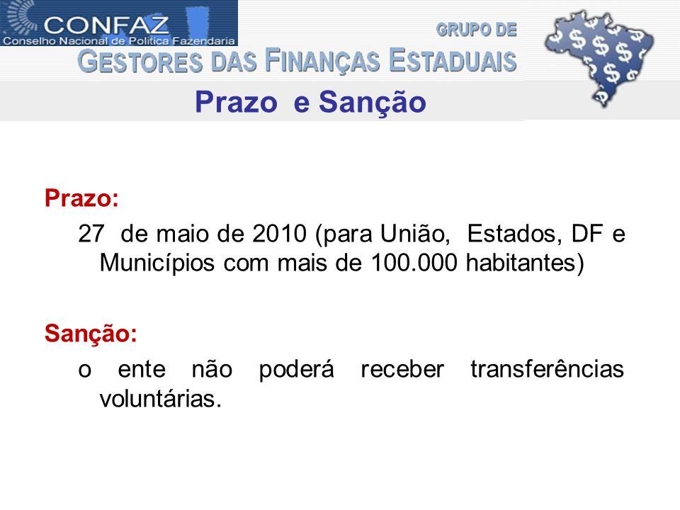 Prazo e Sanção Prazo: 27 de maio de 2010 (para União, Estados, DF e Municípios com mais de 100.000 habitantes) Sanção: o ente não poderá receber trans