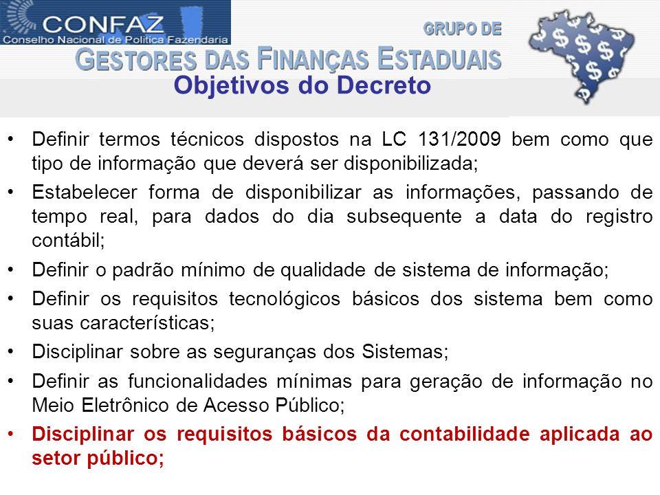 Objetivos do Decreto Definir termos técnicos dispostos na LC 131/2009 bem como que tipo de informação que deverá ser disponibilizada; Estabelecer form