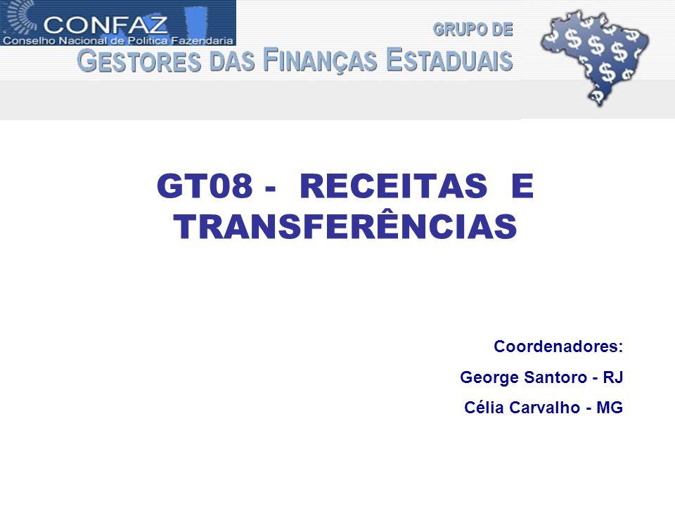GT08 - RECEITAS E TRANSFERÊNCIAS Coordenadores: George Santoro - RJ Célia Carvalho - MG