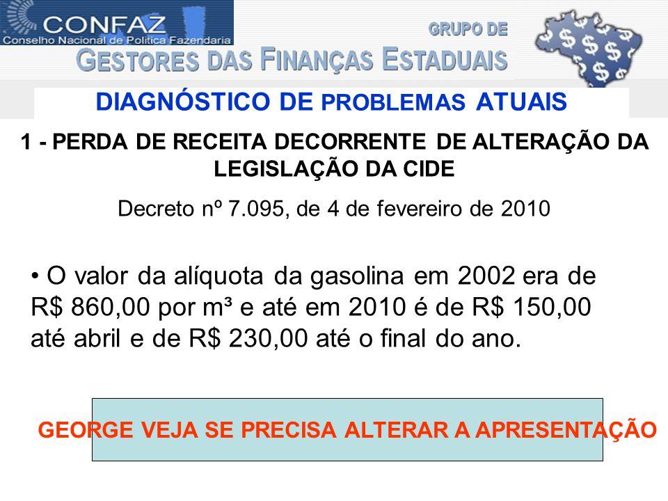 DIAGNÓSTICO DE PROBLEMAS ATUAIS 1 - PERDA DE RECEITA DECORRENTE DE ALTERAÇÃO DA LEGISLAÇÃO DA CIDE Decreto nº 7.095, de 4 de fevereiro de 2010 O valor
