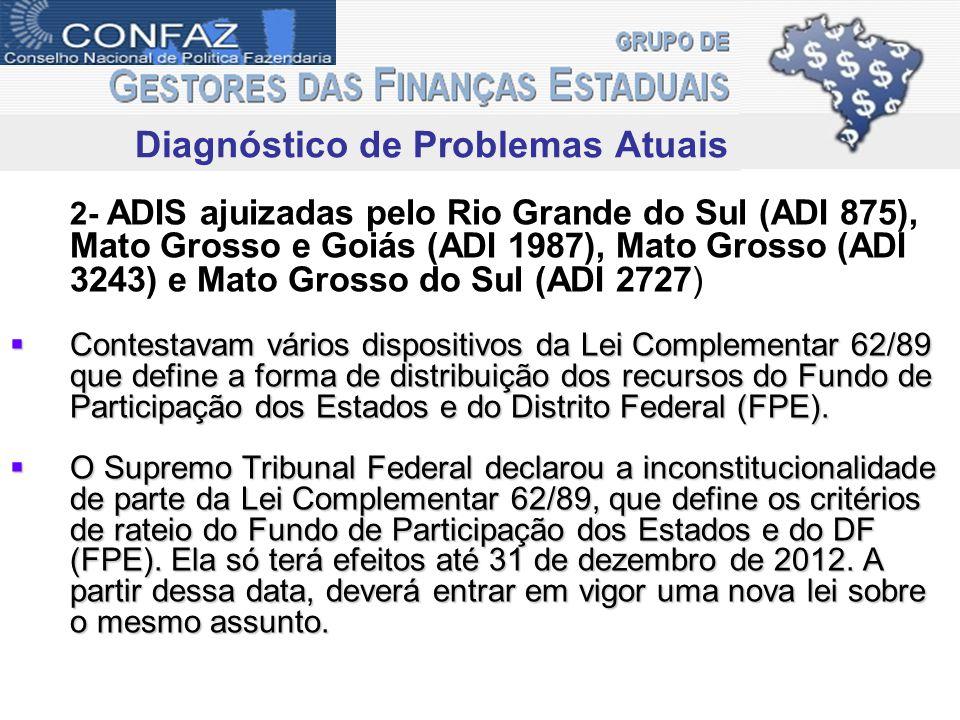 2- ADIS ajuizadas pelo Rio Grande do Sul (ADI 875), Mato Grosso e Goiás (ADI 1987), Mato Grosso (ADI 3243) e Mato Grosso do Sul (ADI 2727) Contestavam