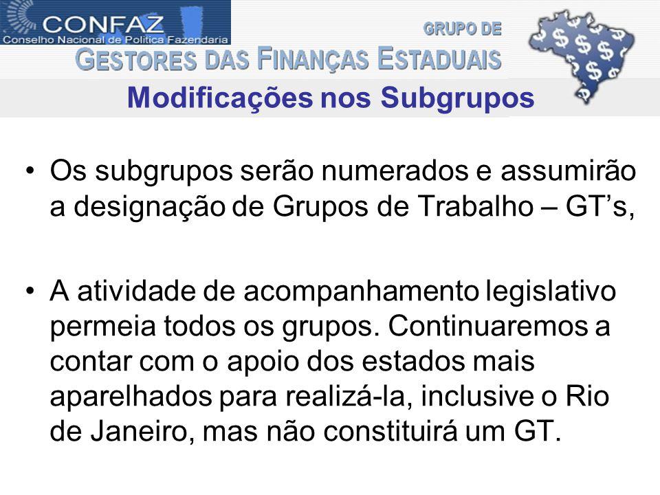 Os subgrupos serão numerados e assumirão a designação de Grupos de Trabalho – GTs, A atividade de acompanhamento legislativo permeia todos os grupos.