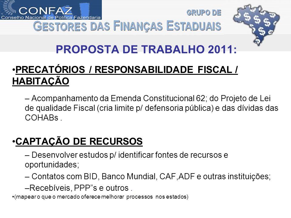 PROPOSTA DE TRABALHO 2011: PRECATÓRIOS / RESPONSABILIDADE FISCAL / HABITAÇÃO – Acompanhamento da Emenda Constitucional 62; do Projeto de Lei de qualidade Fiscal (cria limite p/ defensoria pública) e das dívidas das COHABs.