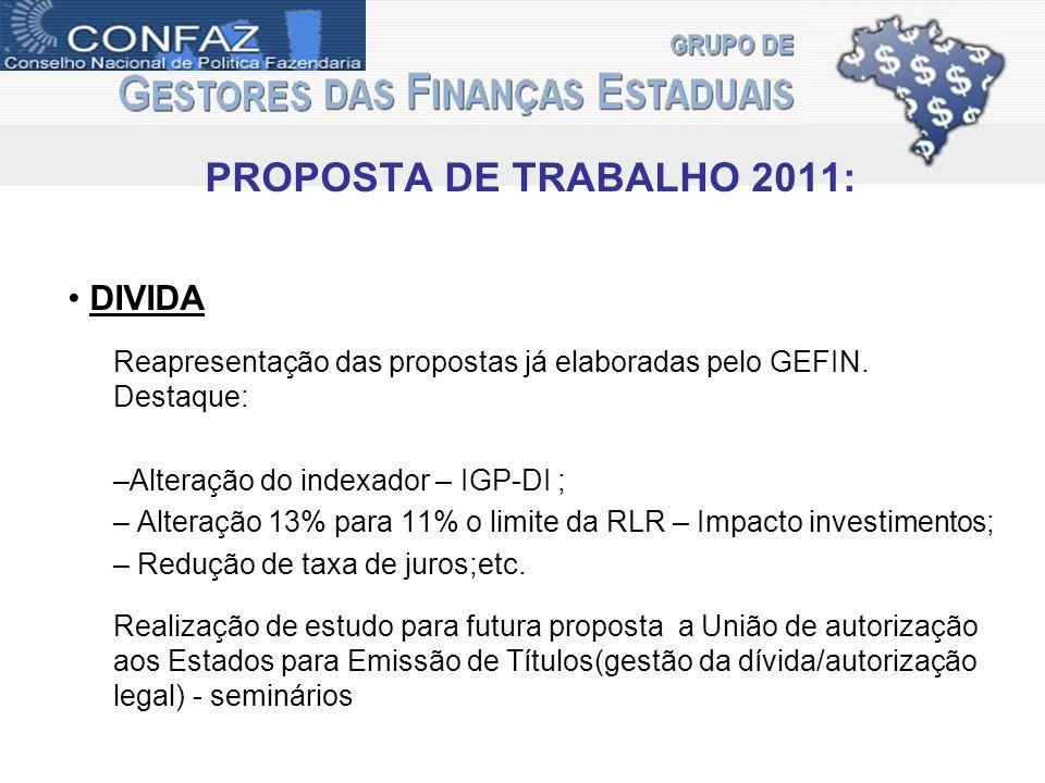 PROPOSTA DE TRABALHO 2011: DIVIDA Reapresentação das propostas já elaboradas pelo GEFIN.