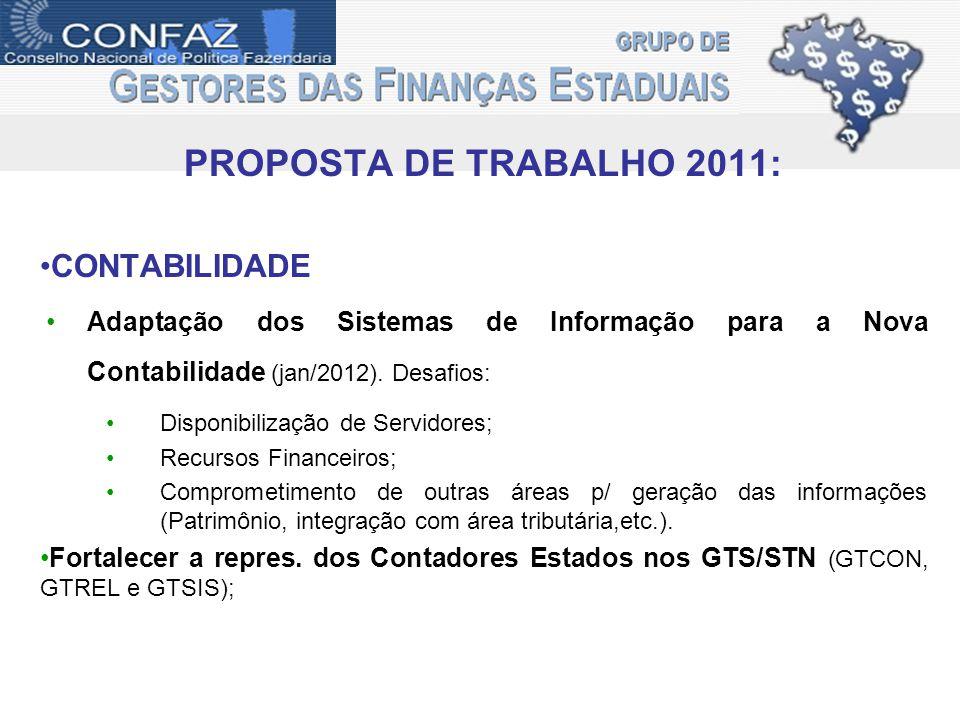 PROPOSTA DE TRABALHO 2011: CONTABILIDADE Adaptação dos Sistemas de Informação para a Nova Contabilidade (jan/2012).