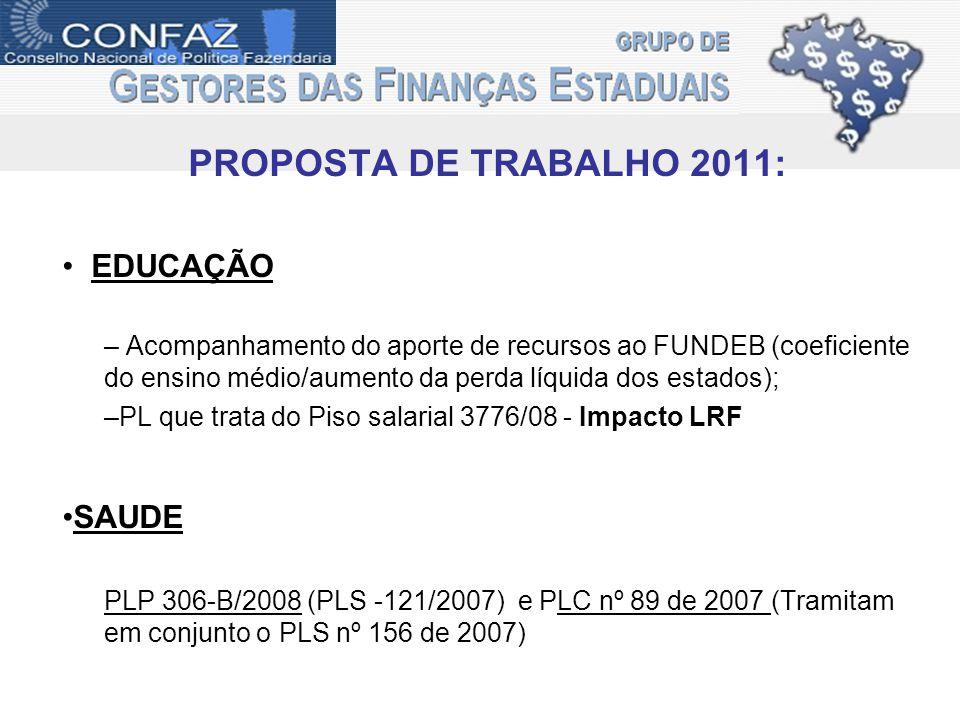 PROPOSTA DE TRABALHO 2011: EDUCAÇÃO – Acompanhamento do aporte de recursos ao FUNDEB (coeficiente do ensino médio/aumento da perda líquida dos estados); –PL que trata do Piso salarial 3776/08 - Impacto LRF SAUDE PLP 306-B/2008 (PLS -121/2007) e PLC nº 89 de 2007 (Tramitam em conjunto o PLS nº 156 de 2007)