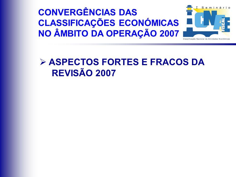 ASPECTOS FORTES E FRACOS DA REVISÃO 2007 CONVERGÊNCIAS DAS CLASSIFICAÇÕES ECONÓMICAS NO ÂMBITO DA OPERAÇÃO 2007