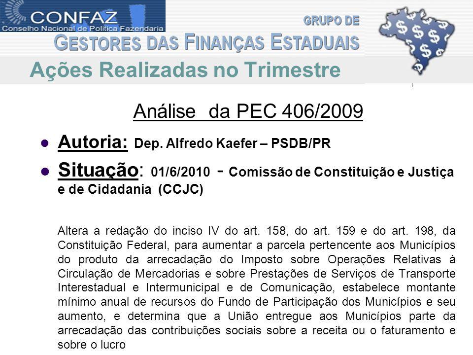 Análise da PEC 406/2009 Repasse ICMS aos municípios passa de 25% para 30%.