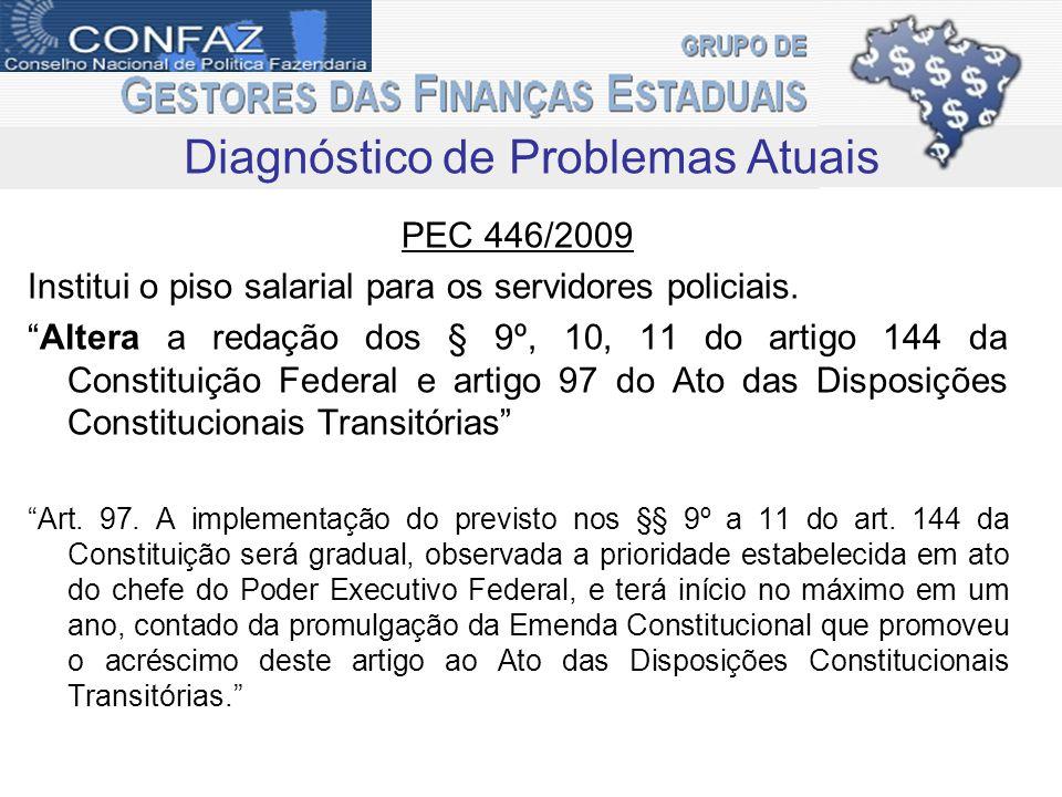 PEC 446/2009 Institui o piso salarial para os servidores policiais.