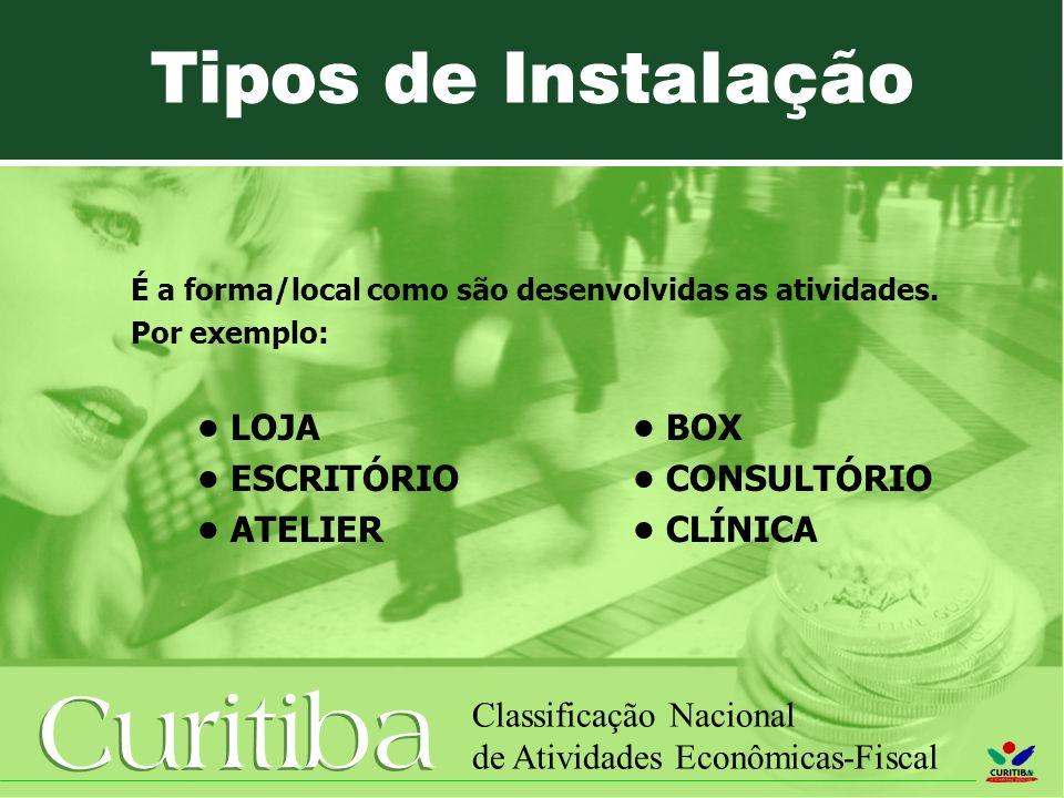 Curitiba Classificação Nacional de Atividades Econômicas-Fiscal É a forma/local como são desenvolvidas as atividades. Por exemplo: LOJA BOX ESCRITÓRIO