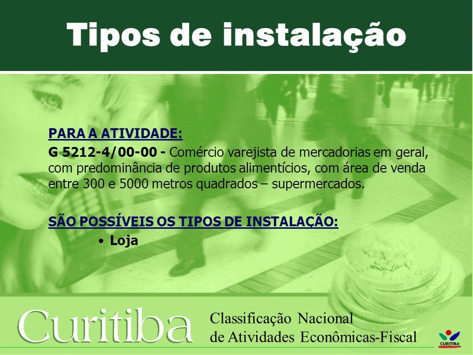 Curitiba Classificação Nacional de Atividades Econômicas-Fiscal PARA A ATIVIDADE: G 5212-4/00-00 - Comércio varejista de mercadorias em geral, com predominância de produtos alimentícios, com área de venda entre 300 e 5000 metros quadrados – supermercados.
