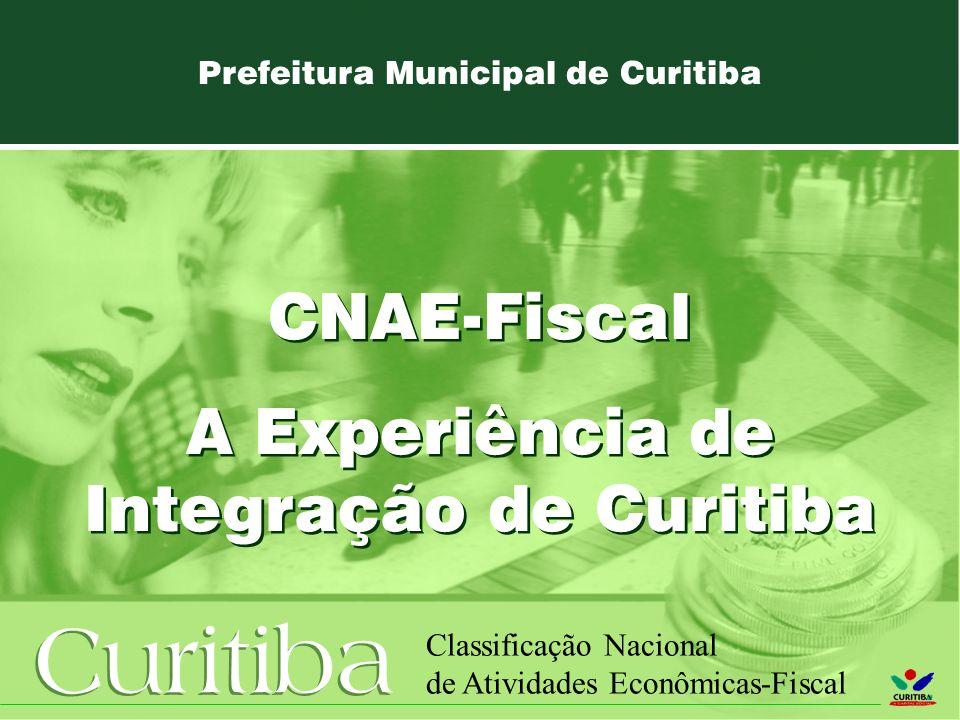 Curitiba Classificação Nacional de Atividades Econômicas-Fiscal Prefeitura Municipal de Curitiba CNAE-Fiscal A Experiência de Integração de Curitiba CNAE-Fiscal A Experiência de Integração de Curitiba