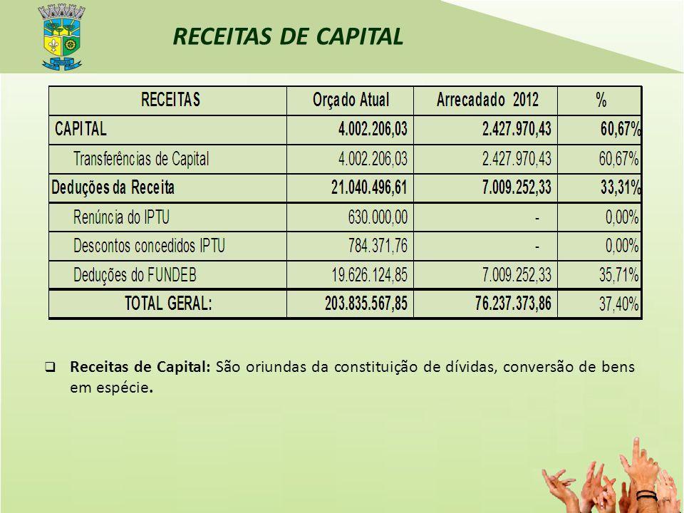 RECEITAS DE CAPITAL Receitas de Capital: São oriundas da constituição de dívidas, conversão de bens em espécie.