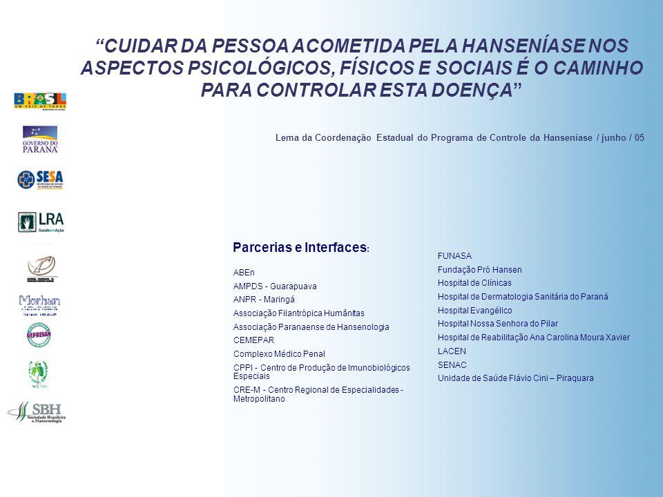 CUIDAR DA PESSOA ACOMETIDA PELA HANSENÍASE NOS ASPECTOS PSICOLÓGICOS, FÍSICOS E SOCIAIS É O CAMINHO PARA CONTROLAR ESTA DOENÇA Lema da Coordenação Estadual do Programa de Controle da Hanseníase / junho / 05 ABEn AMPDS - Guarapuava ANPR - Maringá Associação Filantrópica Humânitas Associação Paranaense de Hansenologia CEMEPAR Complexo Médico Penal CPPI - Centro de Produção de Imunobiológicos Especiais CRE-M - Centro Regional de Especialidades - Metropolitano FUNASA Fundação Pró Hansen Hospital de Clínicas Hospital de Dermatologia Sanitária do Paraná Hospital Evangélico Hospital Nossa Senhora do Pilar Hospital de Reabilitação Ana Carolina Moura Xavier LACEN SENAC Unidade de Saúde Flávio Cini – Piraquara Parcerias e Interfaces :