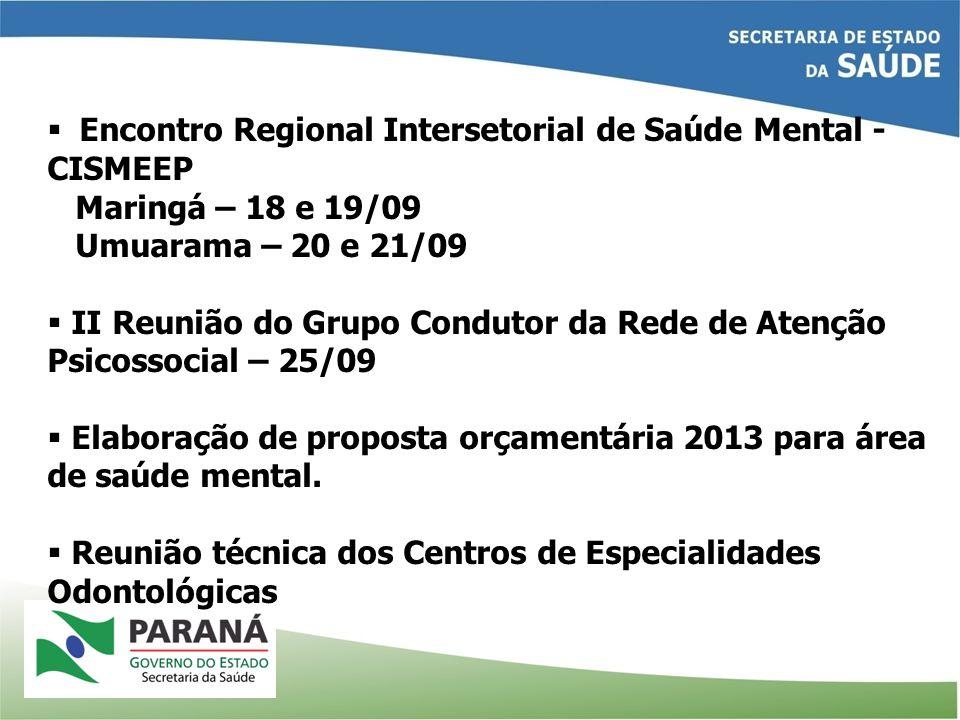 Encontro Regional Intersetorial de Saúde Mental - CISMEEP Maringá – 18 e 19/09 Umuarama – 20 e 21/09 II Reunião do Grupo Condutor da Rede de Atenção Psicossocial – 25/09 Elaboração de proposta orçamentária 2013 para área de saúde mental.