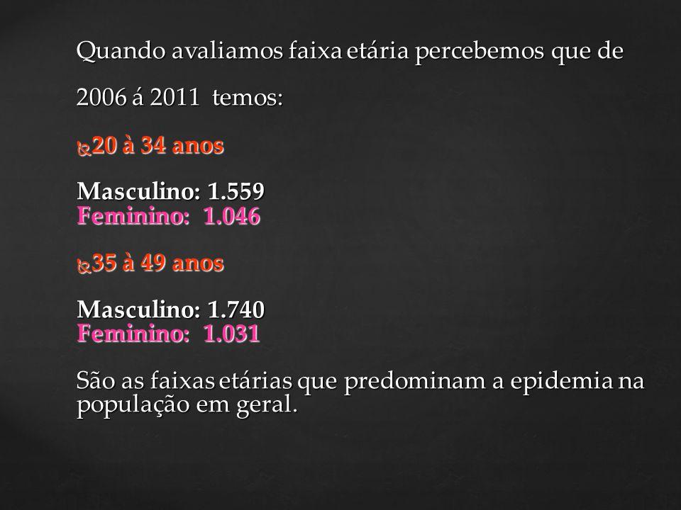 Quando avaliamos faixa etária percebemos que de 2006 á 2011 temos: 20 à 34 anos 20 à 34 anos Masculino: 1.559 Feminino: 1.046 35 à 49 anos 35 à 49 ano