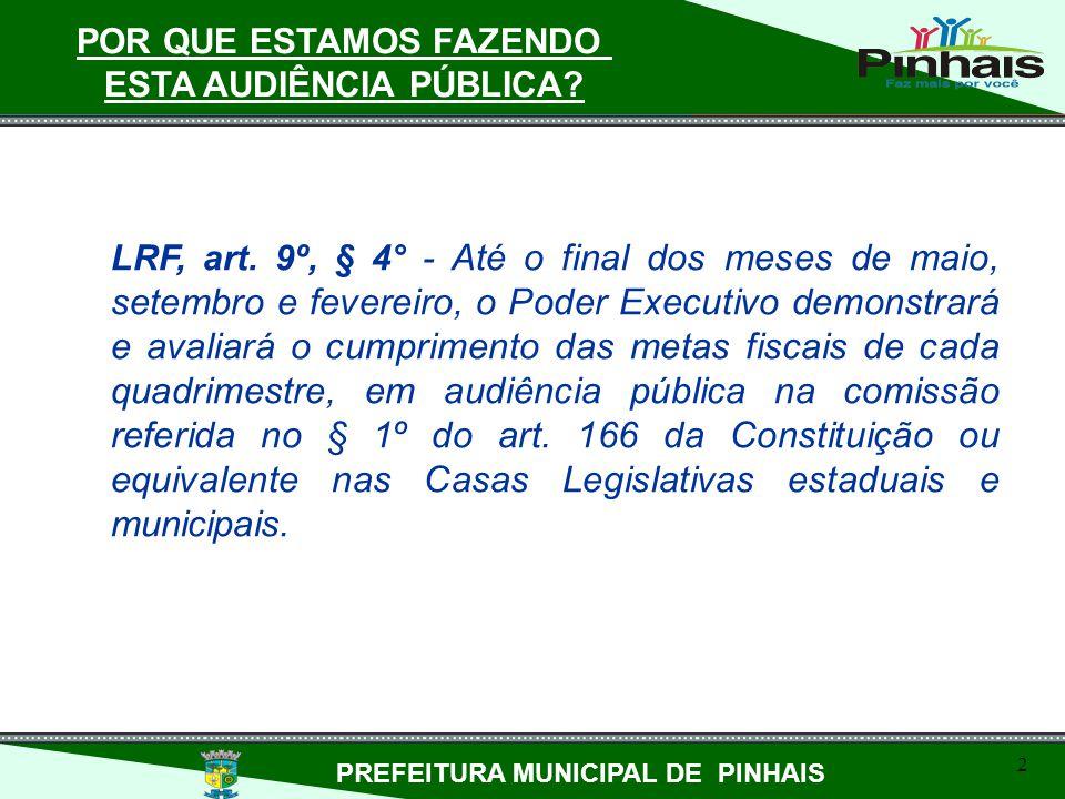 LRF, art. 9º, § 4° - Até o final dos meses de maio, setembro e fevereiro, o Poder Executivo demonstrará e avaliará o cumprimento das metas fiscais de