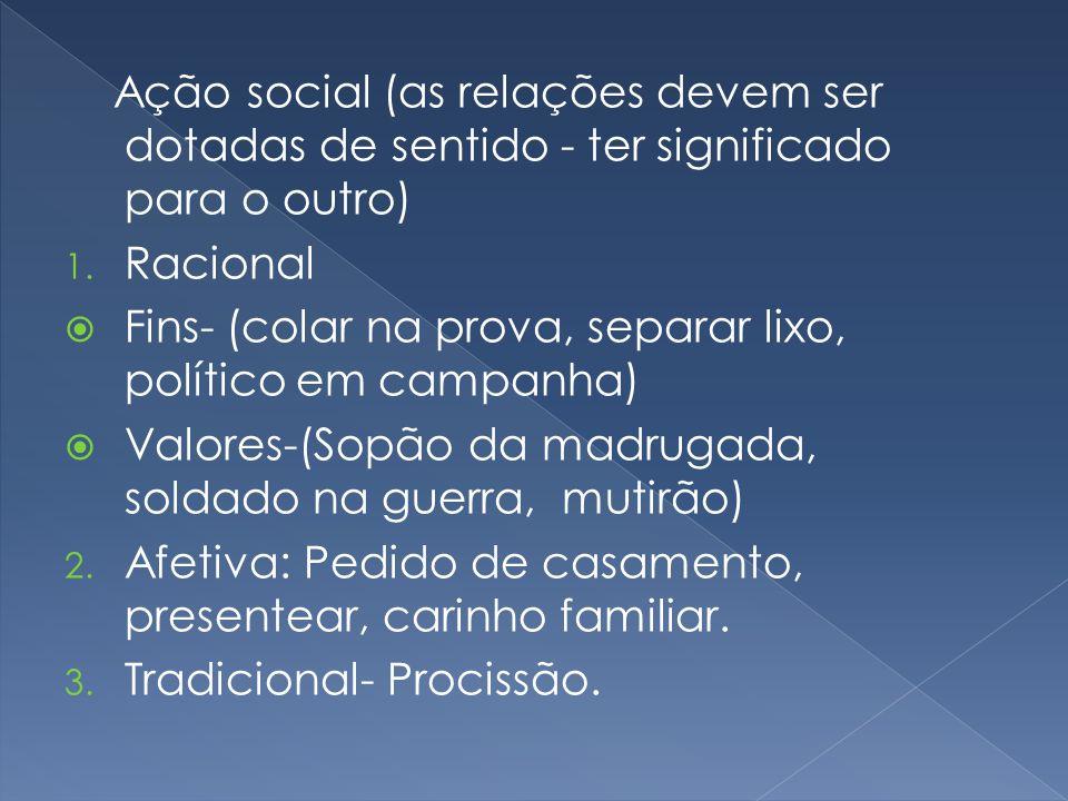 Ação social (as relações devem ser dotadas de sentido - ter significado para o outro) 1. Racional Fins- (colar na prova, separar lixo, político em cam