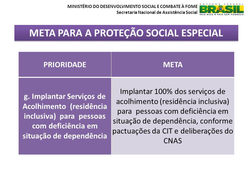 META PARA A PROTEÇÃO SOCIAL ESPECIAL MINISTÉRIO DO DESENVOLVIMENTO SOCIAL E COMBATE À FOME Secretaria Nacional de Assistência Social PRIORIDADEMETA g.