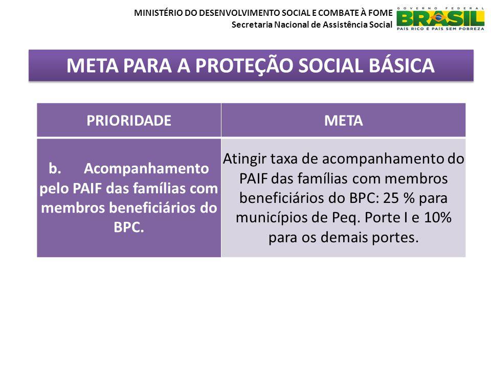 META PARA A PROTEÇÃO SOCIAL BÁSICA MINISTÉRIO DO DESENVOLVIMENTO SOCIAL E COMBATE À FOME Secretaria Nacional de Assistência Social PRIORIDADEMETA b.