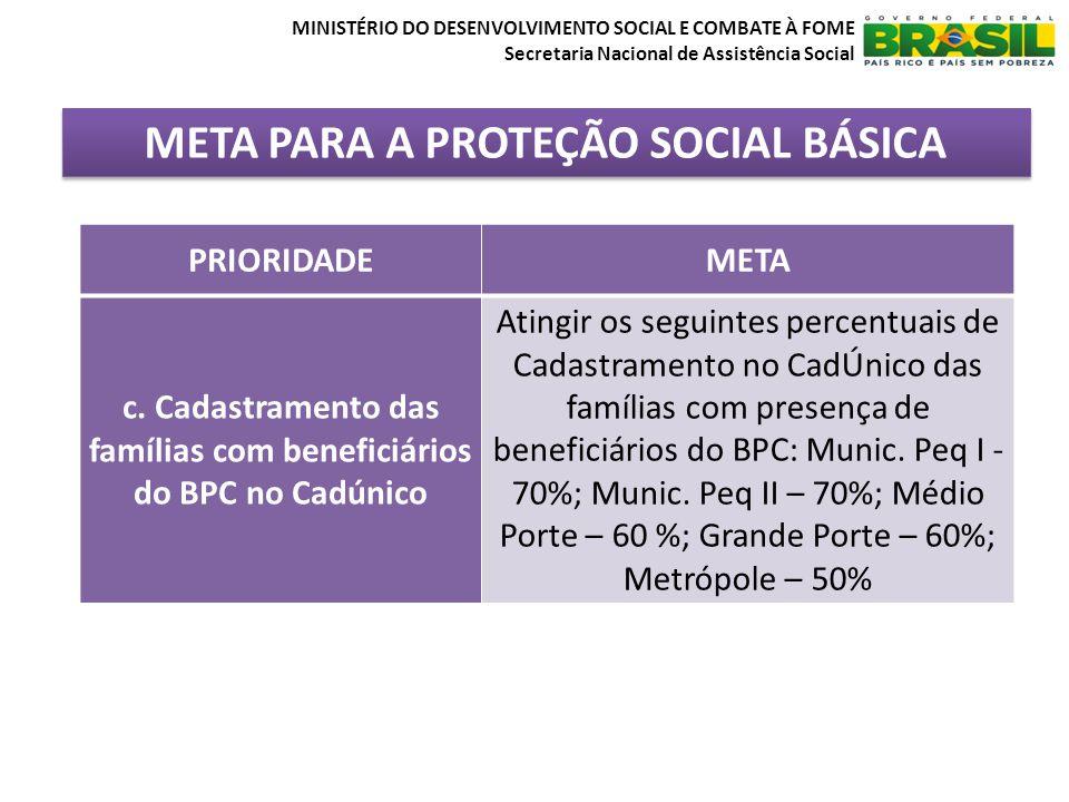META PARA A PROTEÇÃO SOCIAL BÁSICA MINISTÉRIO DO DESENVOLVIMENTO SOCIAL E COMBATE À FOME Secretaria Nacional de Assistência Social PRIORIDADEMETA c. C