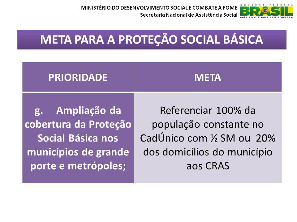 META PARA A PROTEÇÃO SOCIAL BÁSICA MINISTÉRIO DO DESENVOLVIMENTO SOCIAL E COMBATE À FOME Secretaria Nacional de Assistência Social PRIORIDADEMETA g. A
