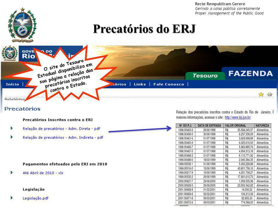 Recte Rempublicam Gerere Gerindo a coisa pública corretamente Proper Management of the Public Good Precatórios do ERJ O site do Tesouro Estadual dispo