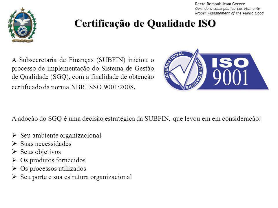 Recte Rempublicam Gerere Gerindo a coisa pública corretamente Proper Management of the Public Good Certificação de Qualidade ISO A Subsecretaria de Fi