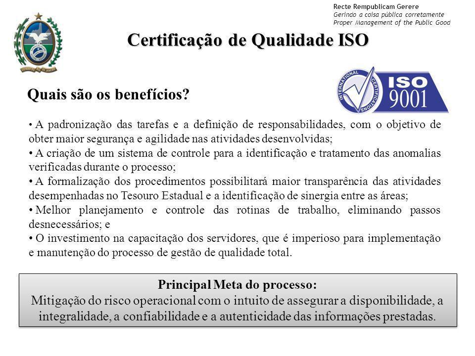 Recte Rempublicam Gerere Gerindo a coisa pública corretamente Proper Management of the Public Good Certificação de Qualidade ISO A padronização das ta