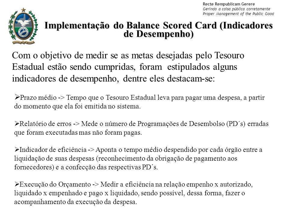 Recte Rempublicam Gerere Gerindo a coisa pública corretamente Proper Management of the Public Good Implementação do Balance Scored Card (Indicadores d