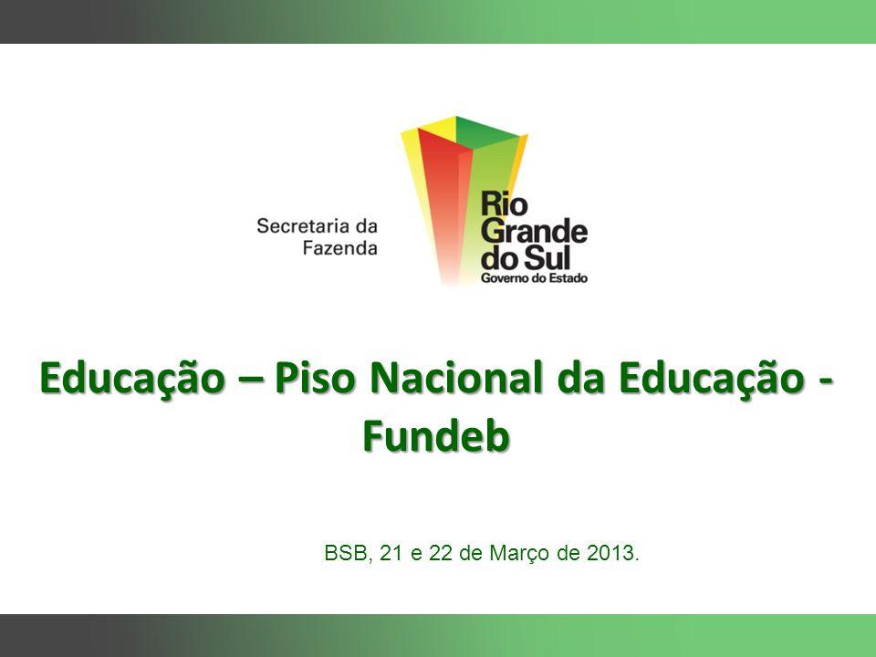 Educação – Piso Nacional da Educação - Fundeb BSB, 21 e 22 de Março de 2013.