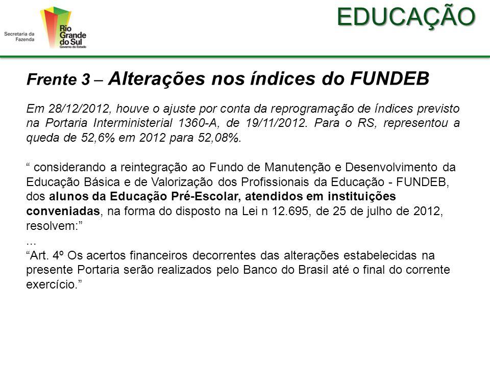 EDUCAÇÃO Frente 3 – Alterações nos índices do FUNDEB Em 28/12/2012, houve o ajuste por conta da reprogramação de índices previsto na Portaria Interministerial 1360-A, de 19/11/2012.