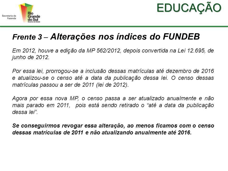 EDUCAÇÃO Frente 3 – Alterações nos índices do FUNDEB Em 2012, houve a edição da MP 562/2012, depois convertida na Lei 12.695, de junho de 2012.