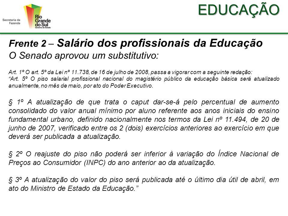 EDUCAÇÃO Frente 2 – Salário dos profissionais da Educação O Senado aprovou um substitutivo: Art.