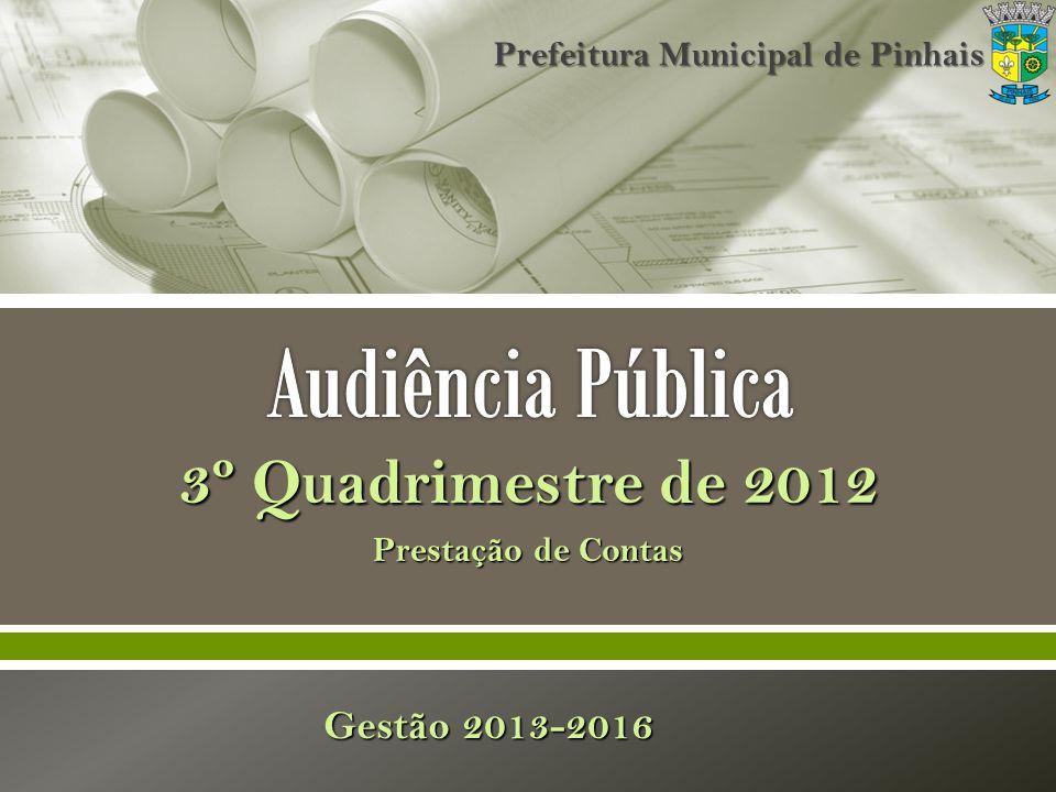 3º Quadrimestre de 2012 Prestação de Contas Gestão 2013-2016 Prefeitura Municipal de Pinhais