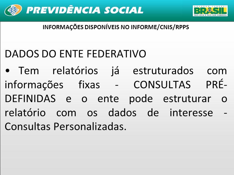11 DADOS DO ENTE FEDERATIVO Tem relatórios já estruturados com informações fixas - CONSULTAS PRÉ- DEFINIDAS e o ente pode estruturar o relatório com os dados de interesse - Consultas Personalizadas.